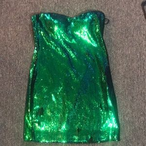 Strapless Mermaid Sequin Changing Party Dress